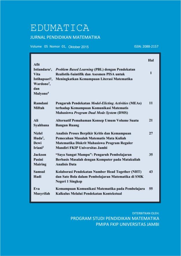 View Vol. 5 No. 01 (2015): Edumatica: Jurnal Pendidikan Matematika