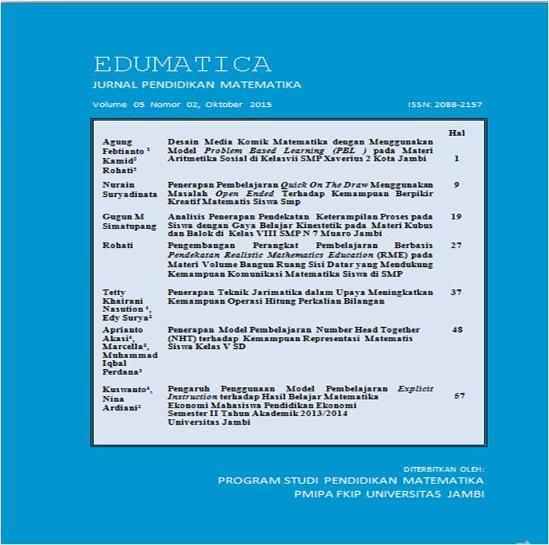 View Vol. 5 No. 02 (2015): Edumatica: Jurnal Pendidikan Matematika