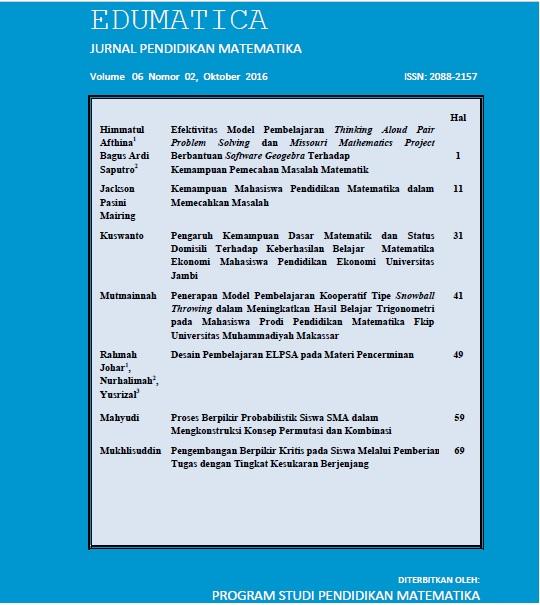 View Vol. 6 No. 02 (2016): Edumatica: Jurnal Pendidikan Matematika