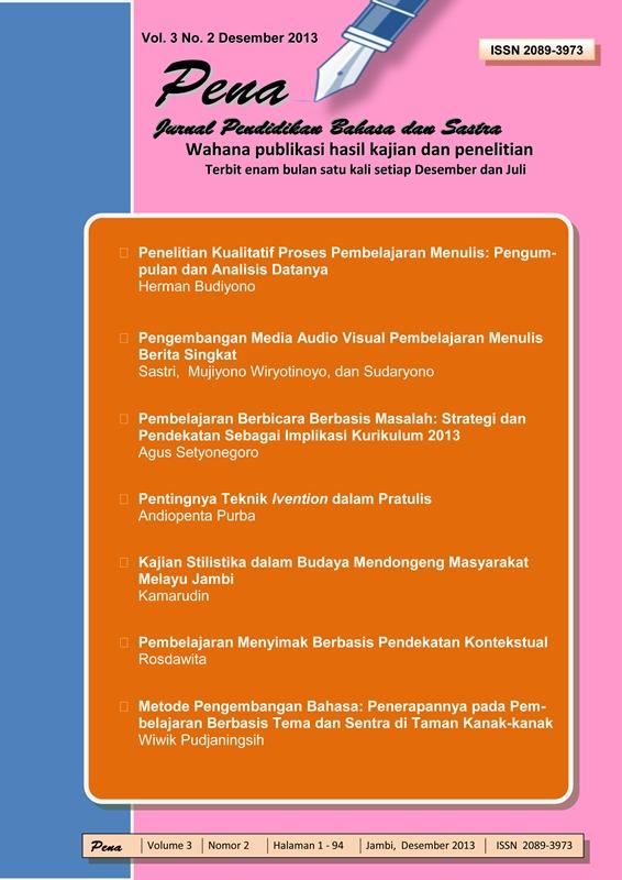 View Vol. 3 No. 1 (2013): Jurnal Pendidikan dan Bahasa Sastra
