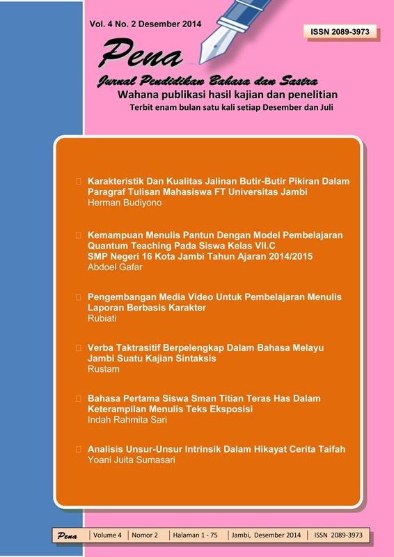 Analisis Unsur Unsur Intrinsik Dalam Hikayat Cerita Taifah Pena