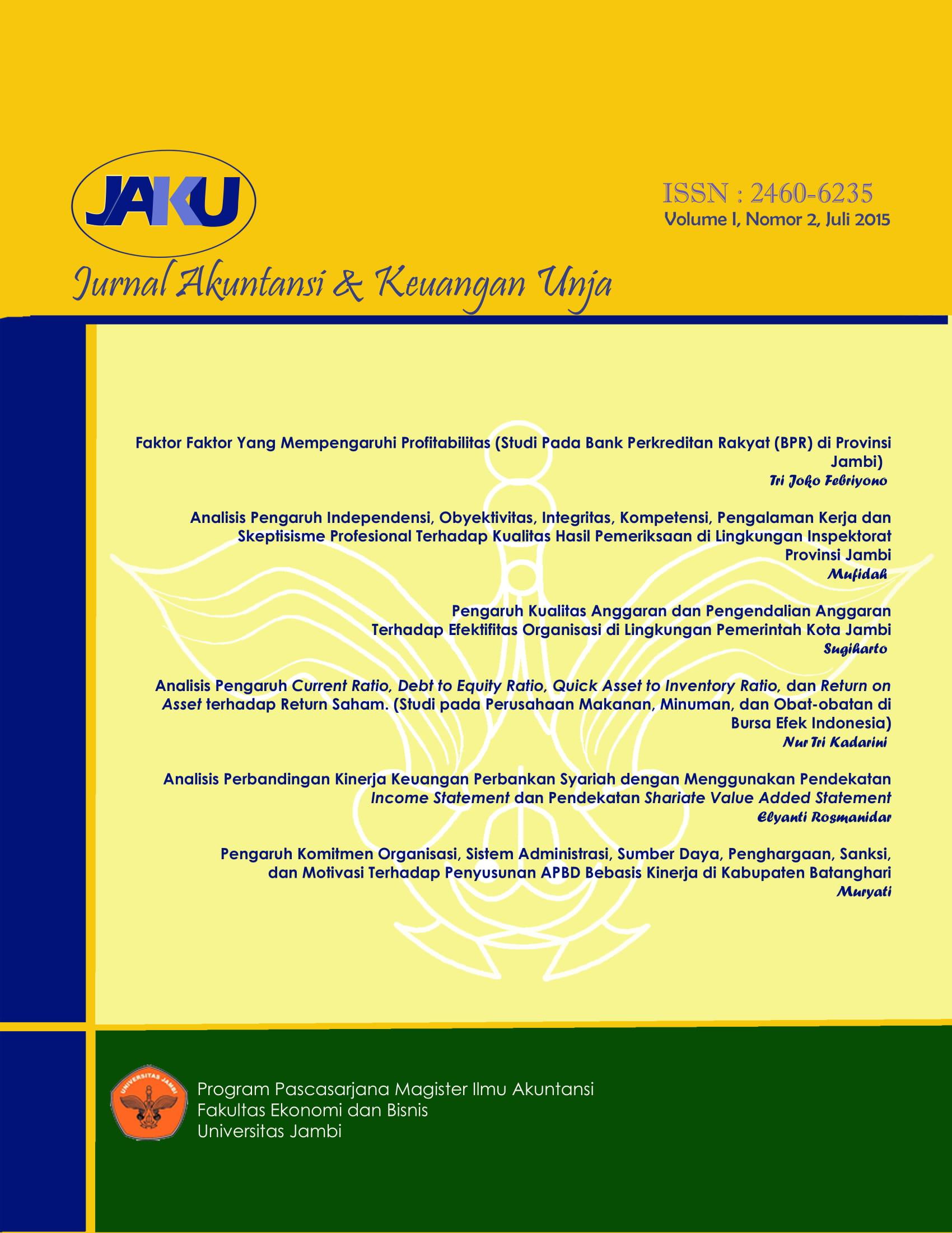 View Vol. 1 No. 2 (2015): Jurnal Akuntansi & Keuangan Unja