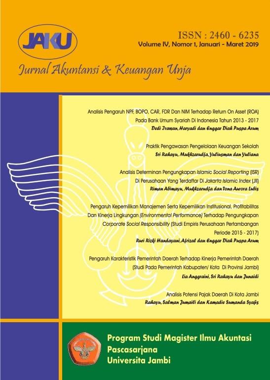 View Vol. 4 No. 1 (2019): Jurnal Akuntansi & Keuangan Unja