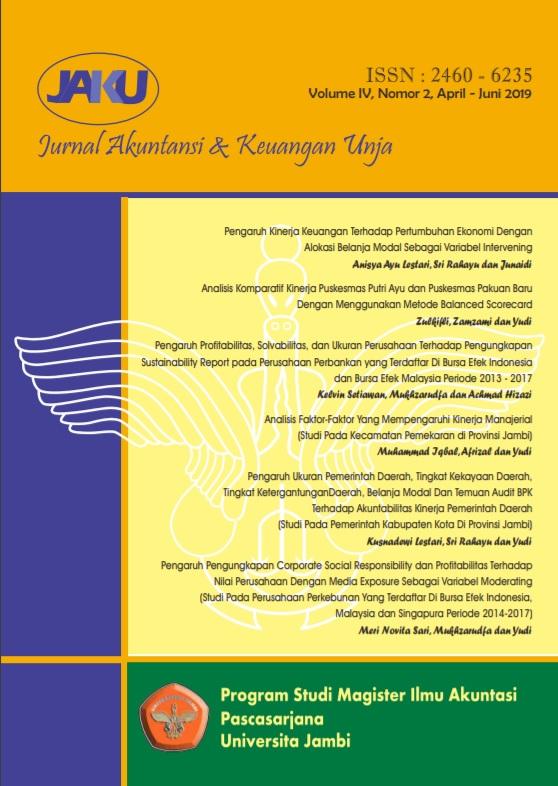 View Vol. 4 No. 2 (2019): Jurnal Akuntansi & Keuangan Unja
