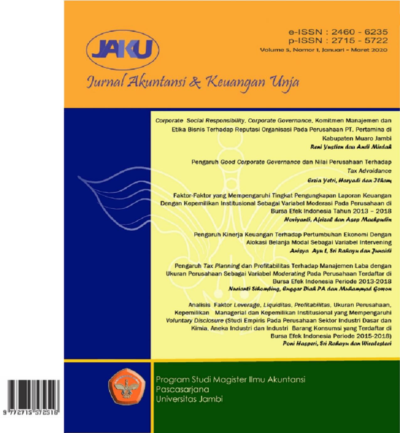 View Vol. 5 No. 1 (2020): Jurnal Akuntansi & Keuangan Unja