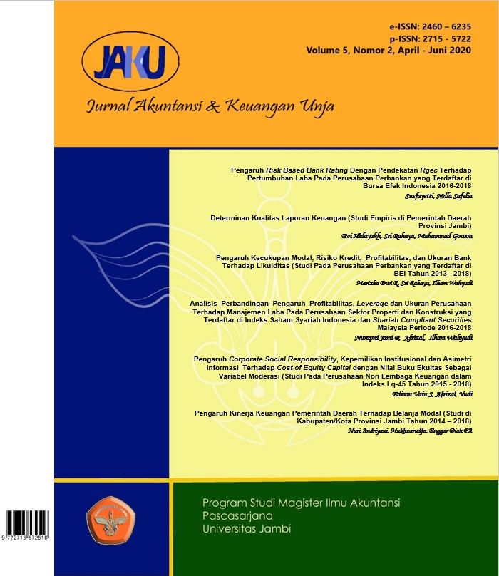 View Vol. 5 No. 2 (2020): Jurnal Akuntansi & Keuangan Unja