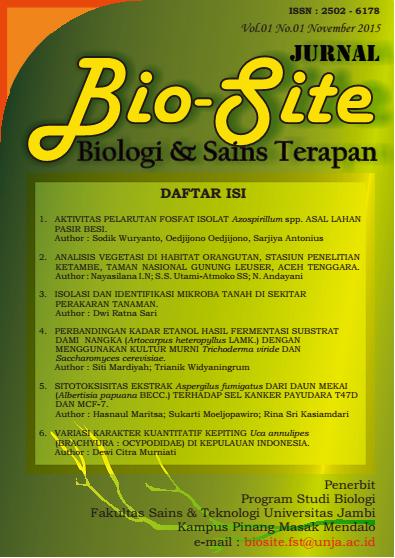 Jurnal Bio-Site FAKULTAS SAINS DAN TEKNOLOGI UNIVERSITAS JAMBI