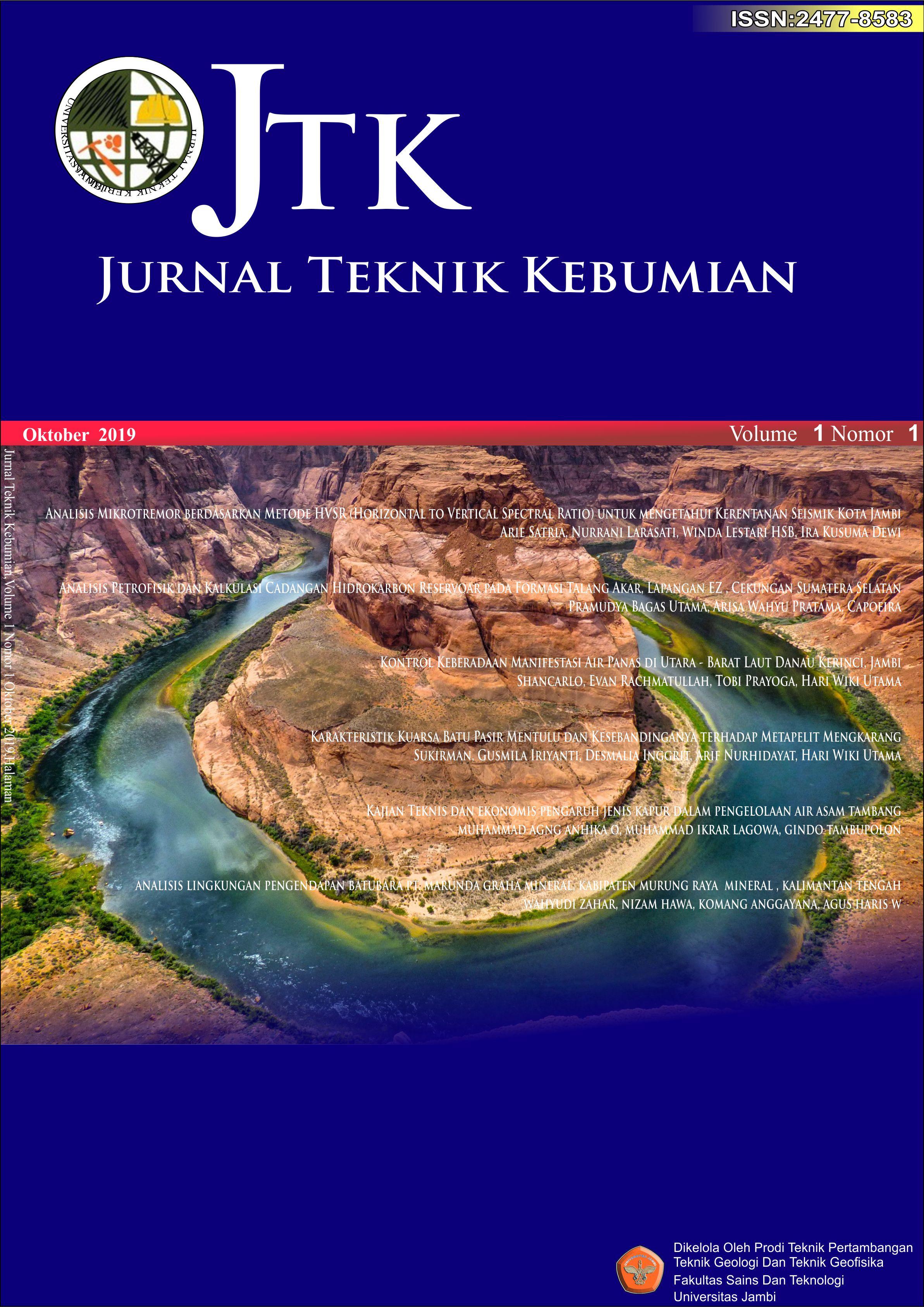 View Vol. 5 No. 2 (2020): Vol 5 No 2 (2020) JURNAL TEKNIK KEBUMIAN