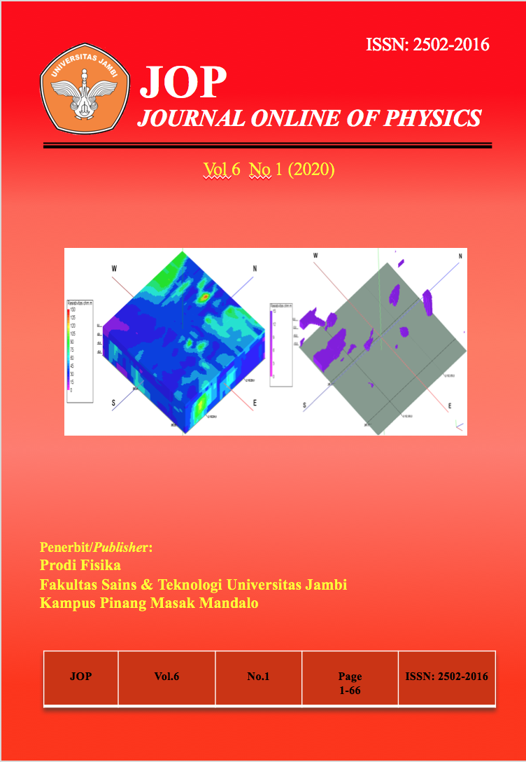 View Vol. 6 No. 1 (2020): Jurnal Fisika Vol 6 No 1