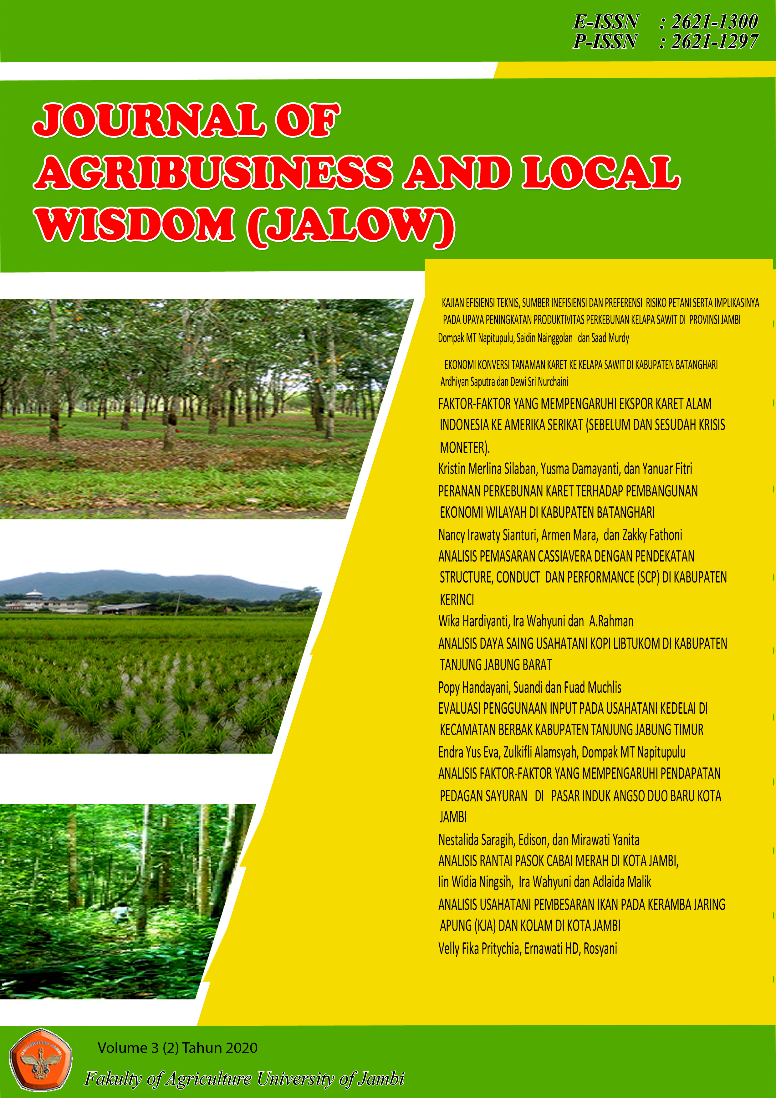 View Vol. 3 No. 2 (2020): Journal Agribusinees and Local Wisdom