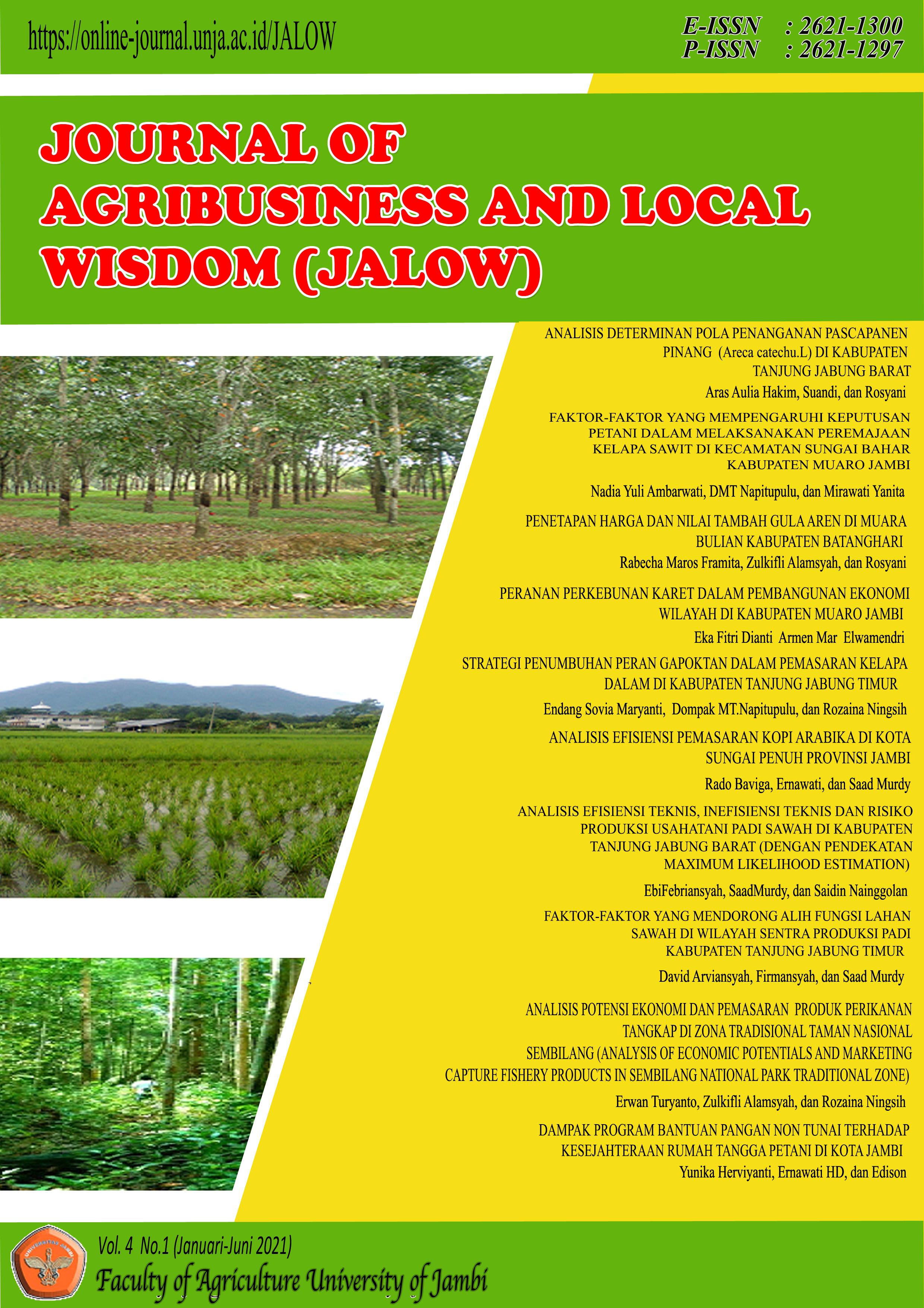 View Vol. 4 No. 1 (2021): Journal Agribusineess and Local Wisdom