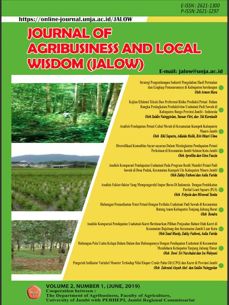 Strategi Pengembangan Industri Pengolahan Hasil Pertanian Dan Lingkup Pemasarannya Di Kabupaten Sarolangun Jalow Journal Of Agribusiness And Local Wisdom