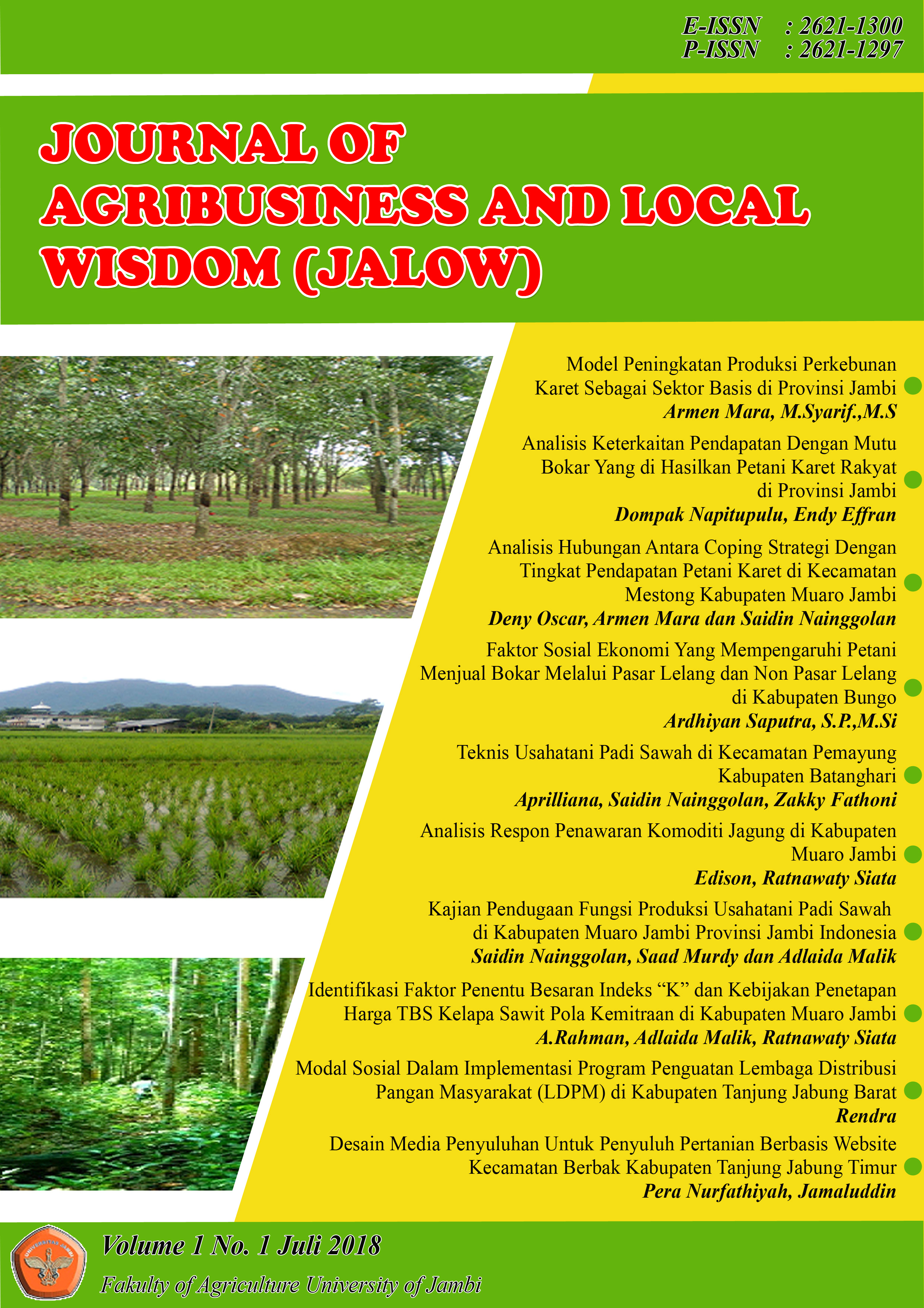 View Vol. 3 No. 1 (2020): Journal Agribusinees and Local Wisdom